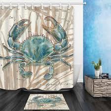 72 Inch Bath Rug 72 72inch Blue Crab Bathroom Waterproof Fabric Shower Curtain Bath