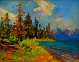 original oil painting on canvas palette knife impressionism x by gq zheng american landscape jackson lake yellowstone national park landscape lake