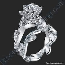 lotus flower engagement ring lotus ring with leaves 1 22 ctw diamond flower engagement ring