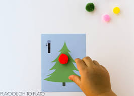 christmas tree counting cards playdough to plato