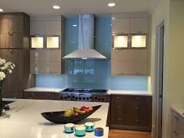 kitchen with glass backsplash blue back painted glass backsplash in modern kitchen design