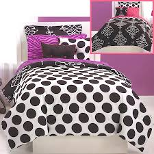 Girls Bedding Purple by Black White Polka Dot Teen Bedding Full Queen Bed In A Bag