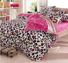 Leopard Bed Set Warm Coral Fleece Material Colorful Leopard Print 4 Bedding
