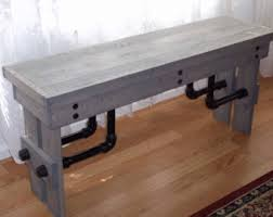 Wood Banquette Seating Industrial Bench Etsy
