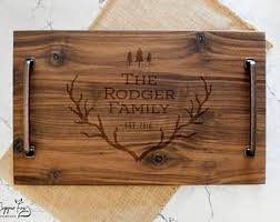 personalized serving platters solid wood tray etsy