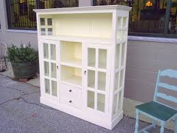 Vintage Bookcase With Glass Doors Cottage Chic Painted Cabinet Cupboard Bookcase Glass Doors And