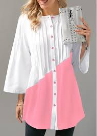pleated blouse button up color block pleated blouse modlily com usd 29 28
