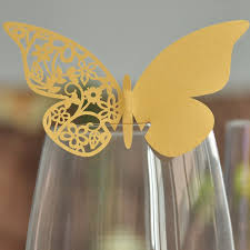 12pcs gold butterfly laser cut paper place wine glass card for
