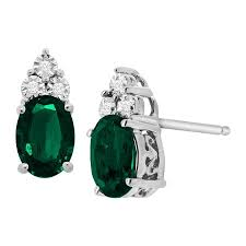 emerald stud earrings 1 1 2 ct created emerald stud earrings with diamonds in sterling