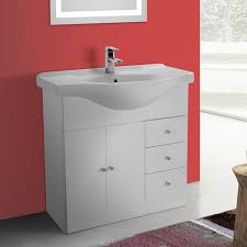 Floor Standing Bathroom Cabinets by 32 Inch Glossy White Floor Standing Bathroom Vanity Set Curved