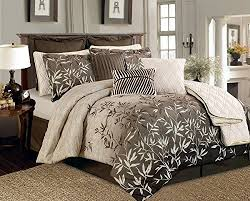 Bamboo Bedding Set 12 Pieces Brown Beige Bamboo Leaves Tropical Comforter