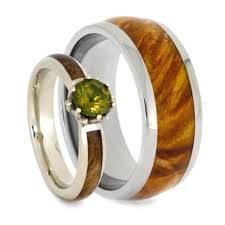 wooden wedding bands wood wedding ring set peridot engagement ring with wood ring