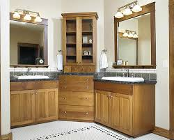 Bathroom Corner Storage Cabinets by Double Vanity Corner Wrap Around Bathroom Remodel Ideas
