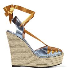ribbon wedges gucci metallic leather and satin espadrille wedge sandals shoes post