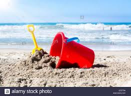 Beach Shovel While Playing In The Water A Kids Toy Plastic Beach Bucket And
