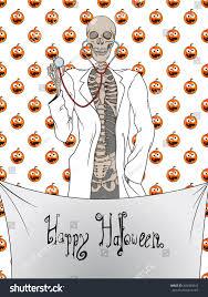 doctor skeleton halloween card stock vector 495489643 shutterstock