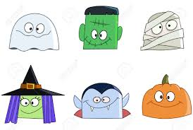 halloween characters faces set ghost green monster mummy
