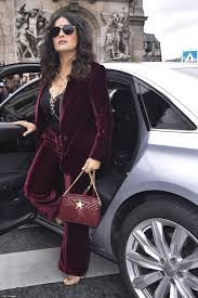 velvet car khloe salma hayek wears two busty for pfw daily mail online