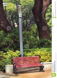 park bench with lamp post stock photo image 63041163