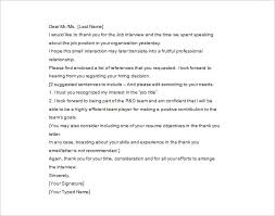 thank you letter after interview u2013 10 free sample example format
