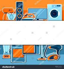 background home appliances household items sale stock vector