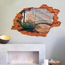 home decor 3d stickers vivid 3d landscape painting window view wall sticker bridge tree