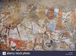 pre islamic central asia mural of the ceremonial hall amazon mural of the ceremonial hall amazon hall wall painting glue colour on dry loess plaster ca 740 penjikent tajikistan sector xxi chamber 1