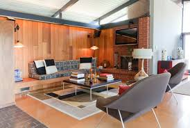 livingroom fireplace mid century living room fireplace brown varnished wooden chair with