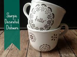 Modern Coffee Mugs Copycat Craft Sharpie Decorated Dishware Craft