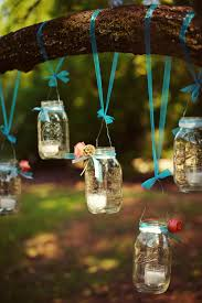 simple diy mason jar candle holders hanging trees for outdoor