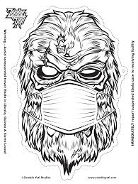 Halloween Masks Coloring Pages by Halloween Diy Zombie Yeti Mask Zombie Yeti Studios