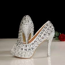 Wedding Shoes Peep Toe 4 5 Inches Peep Toe Wedding Shoes Bling Peep Toe Bridal Shoes