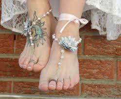 barefoot sandals for wedding dahlias flower barefoot sandals silver gray pink wedding