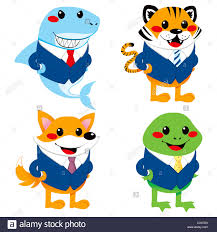 four cute animal cartoon characters wearing suit like a
