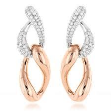 designer earrings two tone 18k gold diamond designer earrings 5 2ct
