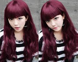 dark burgundy plum hair color for long hairstyles with blunt bangs