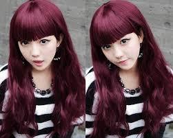 dark burgundy plum hair color for long hairstyles with blunt bangs