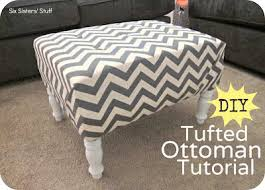 Recover Ottoman Diy Tufted Ottoman Fabric Recover Tutorial Six Stuff