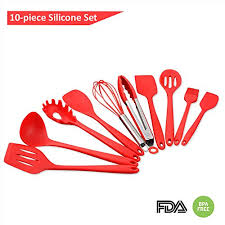 Red Kitchen Utensil Set - genkitchen silicone cookware 10 piece kitchen utensils set heat