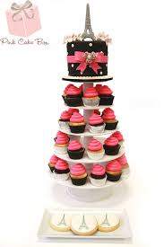 eiffel tower cake stand themed sweet 16 cupcake tower pink cake box