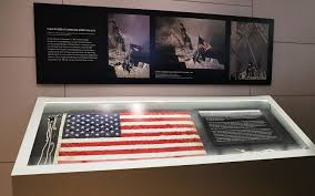 American Flag On Ground Ground Zero Flag At Center Of Famous Photo On Display At 9 11
