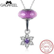 sted jewelry 925 sterling silver jewelry purple color flower pendant with