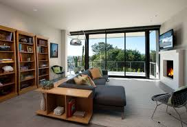 L Shaped Open Floor Plan Center L Shaped Room Divider From Grey Sofa And Brown Wooden
