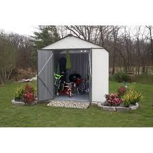 Canopy Storage Shelter by Ezee Shed 8 X 7 Ft Storage Shed In Cream With Charcoal Trim Sheds