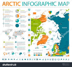Arctic Map Arctic Region Map Detailed Info Graphic Stock Vector 720858217