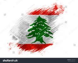 Libanese Flag Lebanon Lebanese Flag Painted Brush On Stock Illustration