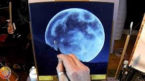 how to paint a full moon free acrylic painting lesson in real