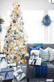 Blue White And Silver Christmas Tree - flocked christmas tree with navy light blue silver and gold