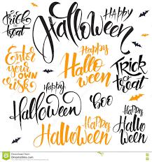 vector set of hand lettering halloween quotes happy halloween