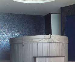 indoor mosaic tile wall glass geometric cocktail blue